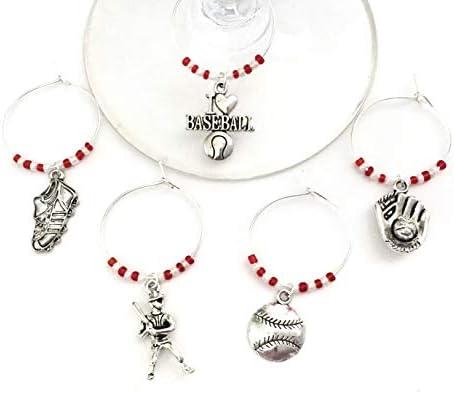 Baseball Wine Charms wine gift for Baseball Lover Includes I Love Baseball Ball Glove Batter product image