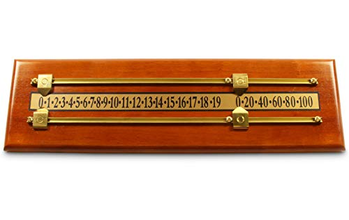 Jonny 8 Ball SOLID ASH Wooden Snooker Scoreboard for 2 Players with Brass Markers and Rails - 17.5 Inch