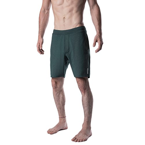 YOGA CROW Men's Swerve Yoga, Workout, Gym, Cross Train, Active Shorts w/Anti-Microbial Inner Liner Heather Green