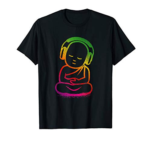 Buddha Headphones T Shirt - Buddhist Monk DJ Shirt