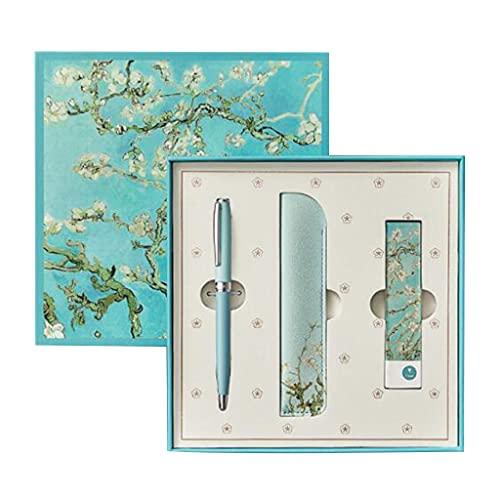 Pluma estilográfica para mujerMini bolígrafos de metal giratorio, tamaño de bolsillo, con bolsa de poliuretano, 3 recambios de bolígrafo para firmas de negocios
