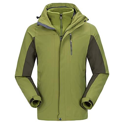 Brush Verdickter Bergsteiger-Anzug-Skianzug Zwei-teilige Jacke Männer (Color : Green, Size : XX-Large)