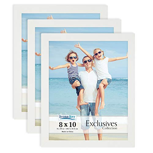 Icona Bay 8x10 Picture Frame (White, 3 Pack), Sturdy Wood Composite Photo Frame 8 x 10, Sleek Design, Table Top or Wall Mount, Exclusives Collection