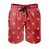 OwlOwlfan Stars - Pantalones cortos de playa para hombre con estampado transpirable y bolsillos elásticos con cordón para surf, natación, correr