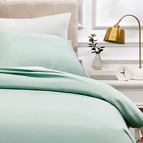 AmazonBasics - Bettwäsche-Set, Fadendichte 400, Baumwollsatin, 135 x 200 cm und einem Kissenbezug, 80 x 80 cm, Hellgrün(Seafoam Green)