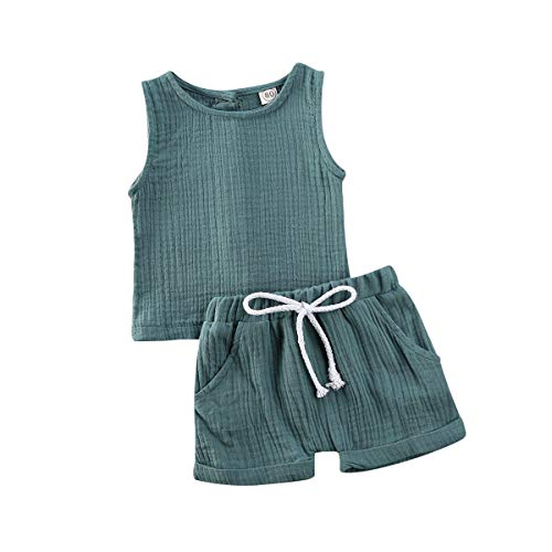 Karuedoo Toddler Baby Girl Cotton Linen Shorts Set Sleeveless Tank Top Vest Drawstring Elastic Waist Shorts Outfit Summer Clothes (A-Blue, 3-4 Years)