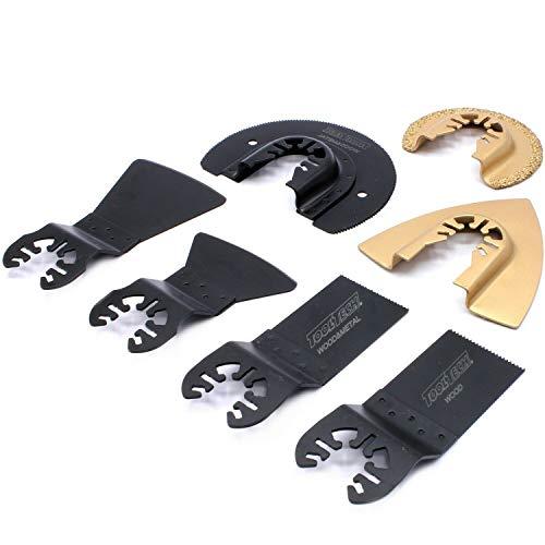 7-tlg Set Zubehör Sägeblatt für Holz und Metall, Spachtel, Dreieck/Rund – Schleifer Multifunktionswerkzeug Oszillierwerkzeug passend für Einhell, Duro und viele weitere Modelle
