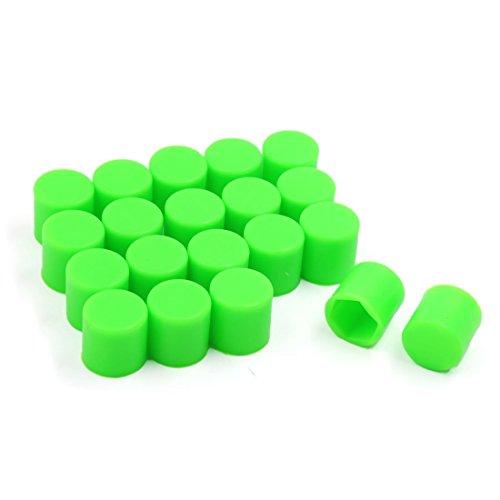 YeVhear - Tuerca de rueda de coche, 20 unidades, 19 mm, tapón hexagonal, color verde