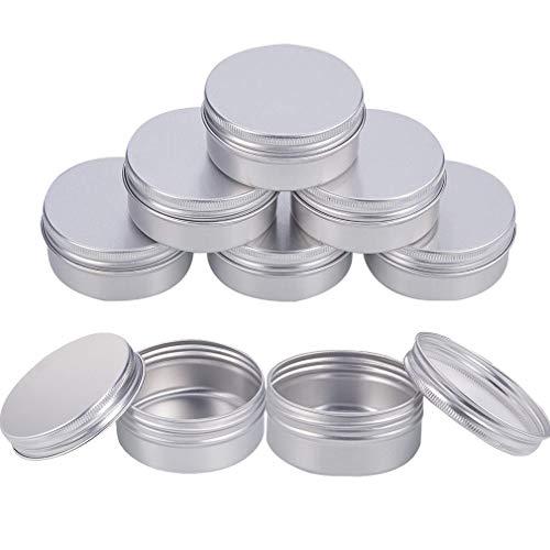 INTVN Aluminium Blechdosen 50 ml Runde Leer Tiegel Dose mit Schraub-Deckel Kosmetik-Dose für DIY Handwerk Salve Kerze Reise Lagerung 8 Stück