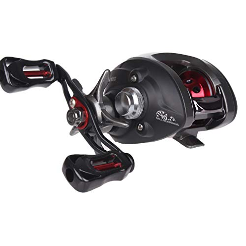 Diwa Baitcasting Fishing Reels Saltwater Freshwater Spincasting Reels Carbon Fiber Drag 18 LBS 12 + 1 Shielded Stainless Steel Ball Bearings Baitcasters Spool Sport Baitcast Reel (Right)