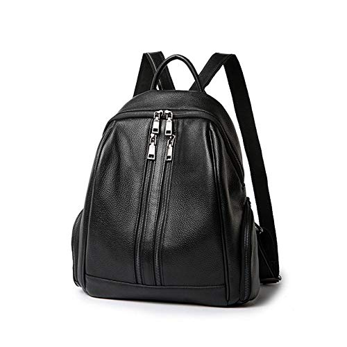 Ladies leather backpack leather college style teen girl school bag double zipper soft ladies backpack-Black_31x14x35cm