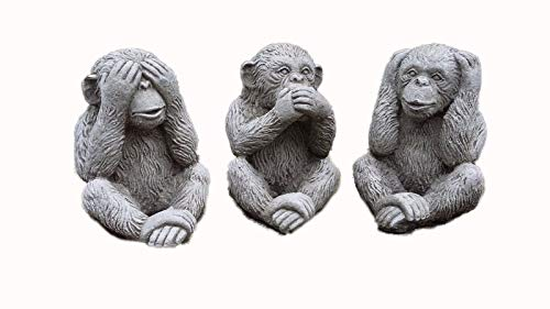 Stone wise monkeys monkey Chimp Chimpanzee garden ornaments set of 3