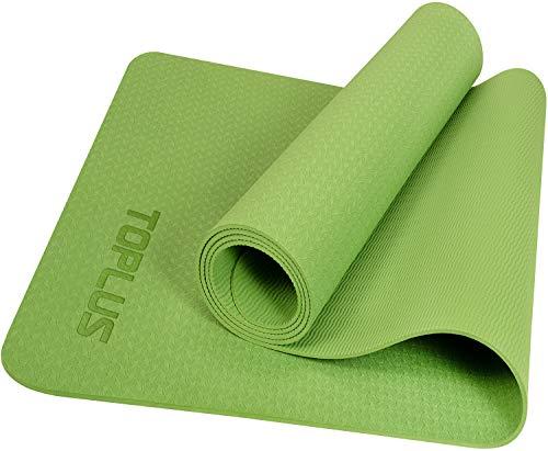 TOPLUS Yogamatte Gymnastikmatte Trainingsmatte Übungsmatte mit Tragegurt rutschfest gut für Anfänger bei Yoga für Fitness, Pilates & Gymnastik, 183 x 61 x 0,4 cm,Grün