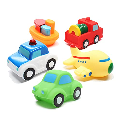 Baby Bath Toys Bathtub Toy - 5 Packs Kids Floating Water Spray Toy Fun Bathtime with Boat, Plice Car,Fire Truck and Plane Plastic Toy for Toddler Boys and Girls