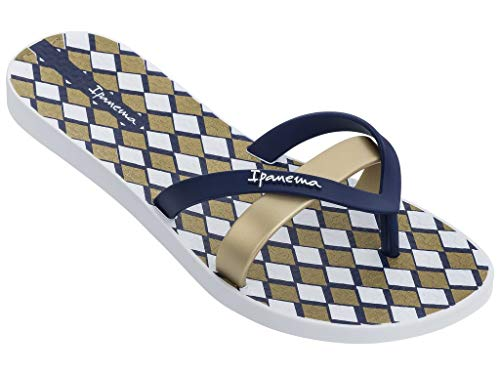 Ipanema Damen Zehentrenner Flip-Flops Kirei FEM 81805/2019 (Weiß-Blau-Golden, Numeric_37)