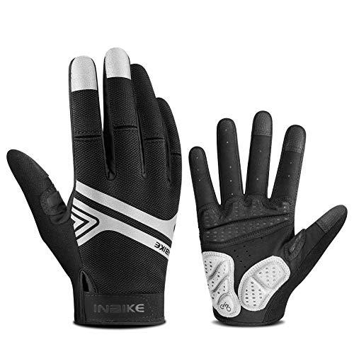 INBIKE Mountainbike-Handschuhe für Herren, Screen-Touch-Fahrradhandschuhe, MTB, gepolstert, Vollfinger, Schwarz, XXL