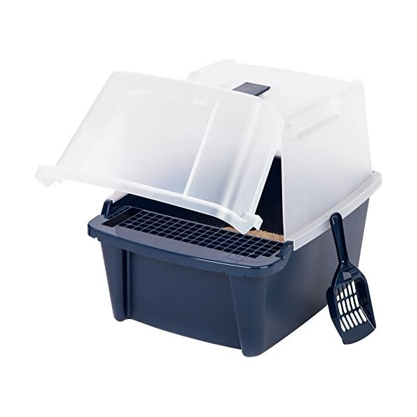 IRIS USA Large Split-Hood Litter Box with Scoop and Grate, Blue CLH-15S