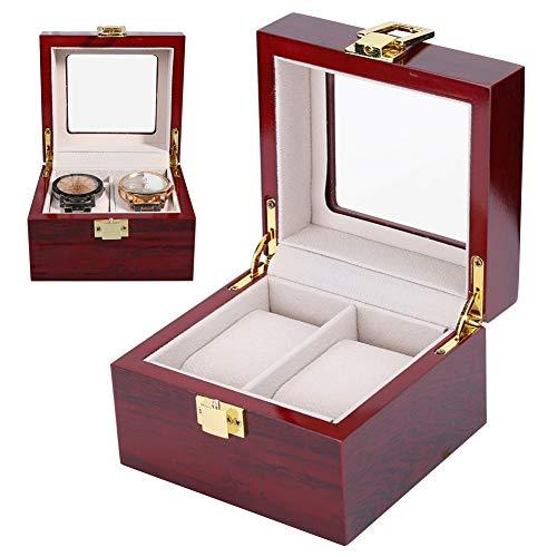 Caja de reloj para 2 relojes, caja de reloj de madera, vitrina de reloj con cojines de reloj extraíbles y tapa de vidrio, caja de reloj Caja de reloj almacenamiento de reloj regalo elegante