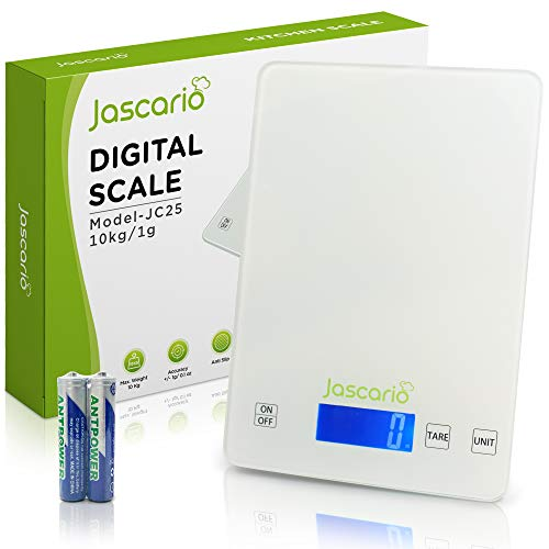 Jascario Digital Kitchen Scale 22lb 10kg – Professional Food Scale with Tempered Glass – Food Weight Scale for Portioning and Measuring – Waterproof Anti-Fingerprint Surface – 0.1oz Precise Graduation