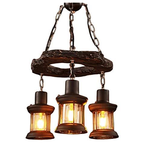 DKee Lámpara de araña de hierro forjado vintage de 39 x 100 cm, lámpara de iluminación para cafetería, bar restaurante