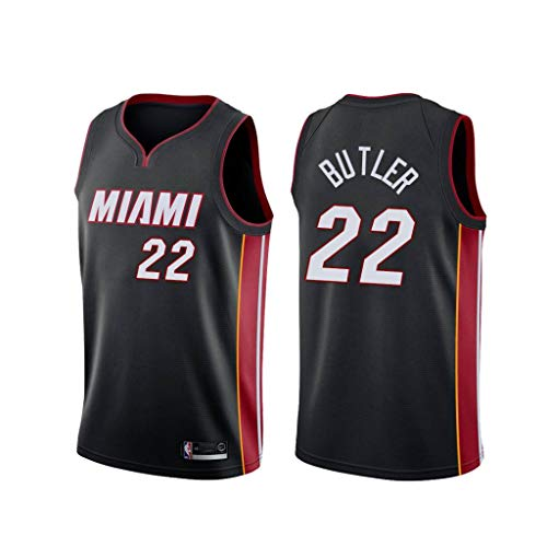 canottejerseyNBA Jimmy Butler - Miami Heat #22, Basket Jersey Maglia Canotta, Swingman Ricamata, Abbigliamento Sportivo (L, Nero Icon)