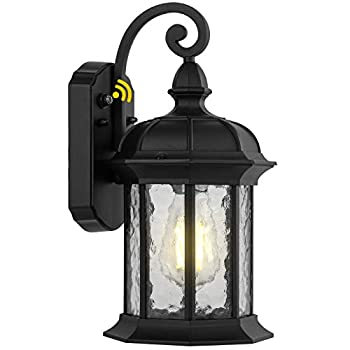 Dusk to Dawn Outdoor Wall Lighting Outdoor Wall Lantern with Water Ripple Glass Waterproof Wall Sconce for Porch Front Door Patio or Garage