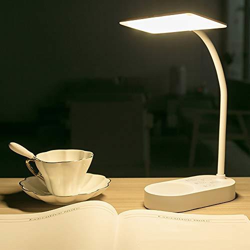 Milnut Lamparas De Escritorio Table Lamp, Recargable USB LáMpara De Lectura Regulable Para Computadora De Estudio Que Cuida Los Ojos, 5 Niveles De Brillo Lamparitas De Noche Dormitorio - Blanco
