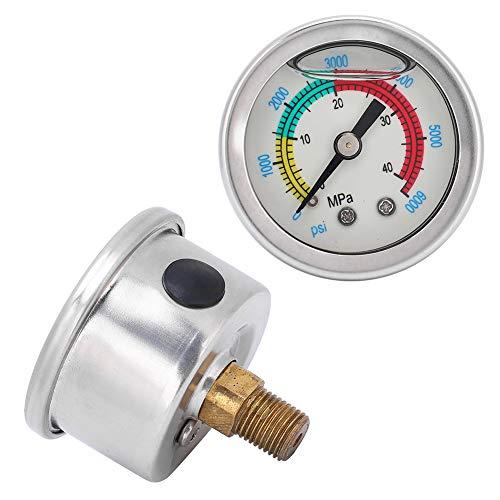 XINMYD Manómetro, manómetro de la Bomba de Aire 40MPA 6000psi Manómetro de Equipo de rebreather de Buceo de llenado de Aceite