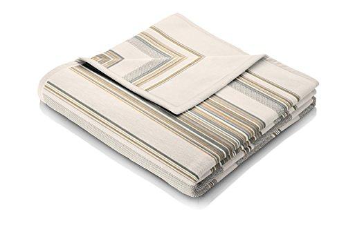 Biederlack Wohn- und Kuscheldecke, 60 % Baumwolle, Samtband-Einfassung, 150 x 200 cm, Natur, Visiona Cotton Lineya, 647634