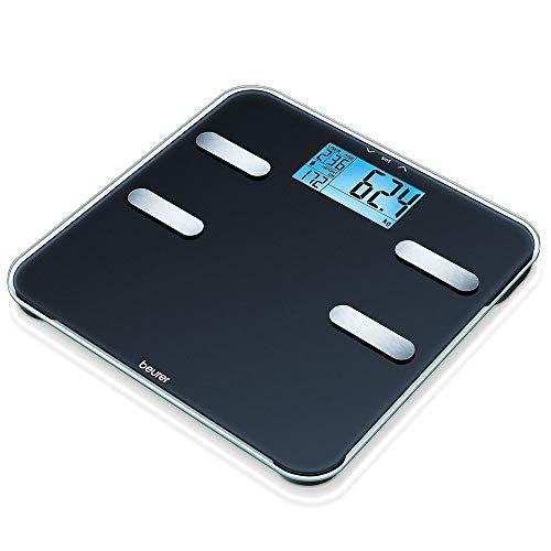 Beurer BF 185 Diagnosewaage, Personenwaage zur Messung von Gewicht, Körperfett, Körperwasser, Muskelanteil und Knochenmasse, mit Berechnung des Kalorienbedarfs AMR, mit 10 Benutzerspeicherplätzen