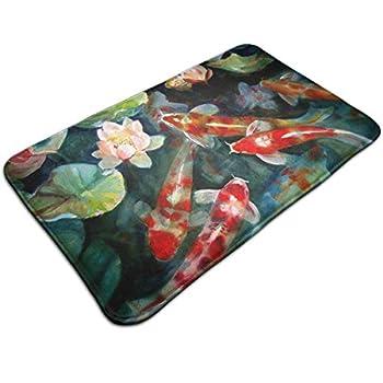 Watercolor Fish Pond Koi Comfortable Indoor/Outdoor Entrance Mat Doormat Non-Slip Backing Bedroom Floor Carpet Bathroom Kitchen Rug Soft Yoga Pet Pad Home Decor