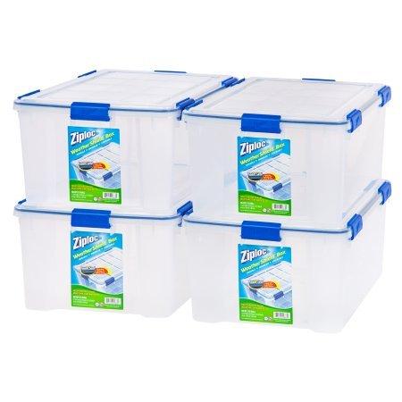 Ziploc 60-Quart (15 Gallon) Weather Shield Storage Box, 4 Pack/Clear