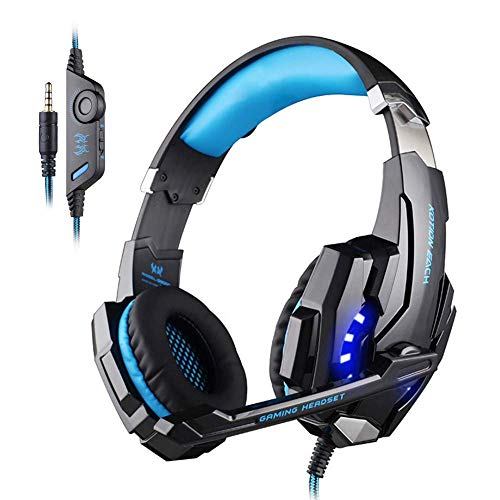KOTION EACH G9000 Headset 3.5mm Game Gaming Headphone Earphone with Microphone LED Light for Laptop Tablet/Mobile Phones/ PS4 (Black Blue)