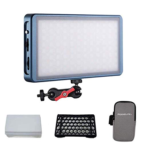 FalconEyes F7 12W RGB LED Mini Pocket On Camera Light, with Honeycomb Grid and Softbox, 20 Scenario Modes, 2500K-9000K , with Magnet Adsorption Function, for Video/Photo/Product Photography