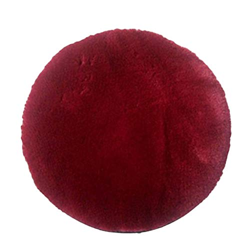F Fityle Chair Pads Cushions with Elastic Ties Buckle, Round Seat Cushion for Kitchen, Office, Dining, Patio, Dorm, Chair - Wine Red, 35cm (14 inch)