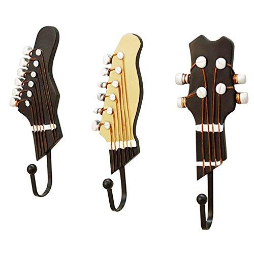 Lot de 3 crochets en résine et forme de guitare rétro pour suspension murale