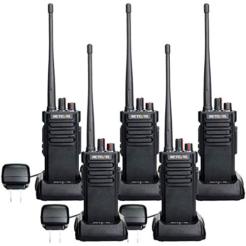 Retevis RT29 Heavy Duty Walkie Talkies for Adults,IP67 Waterproof,High Power,Clear Loud,Two Way Radio for Construction,Factory,Competition,Work(5 Pack)