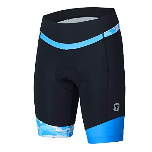 Womens Cycling Shorts with 3D Padded Camo Ride Bike Shorts with Reflective Elements(Blue,XXL)