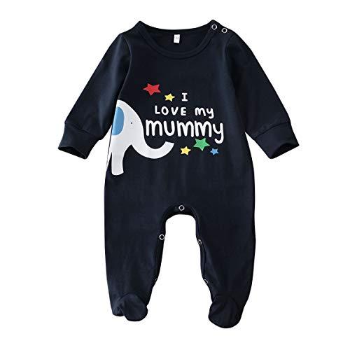 Bebé Pelele de Manga Larga Mono Unisex Mameluco Infantil de Algodón para Recién Nacido Pijama de Una Pieza Body para Niños Pequeños Ropa para Dormir (Negro, 0-3 Meses)