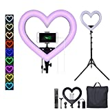 WMWHALE 19' Dimmable LED Circle Lamp with 72' Extendable Tripod Stand & Phone Holder for Live Stream Makeup, Heart-Shaped Ringlight 6 RGB Mode 2 Normal Colors