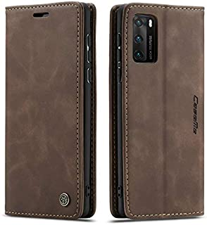 Flip Leather Case For Huawei P40 PRO From CaseMe,Cover Leather case (Dark Brown)