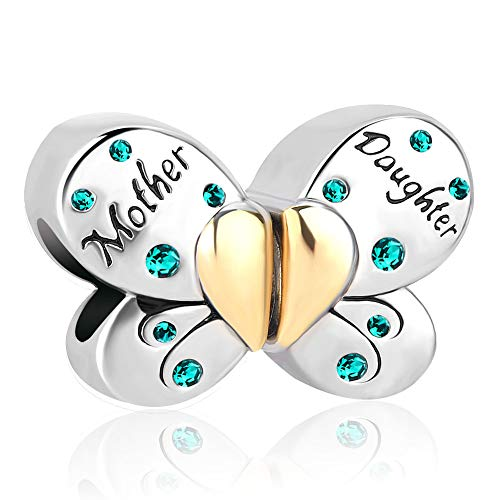 Uniqueen 1Pair Butterfly Mother Daughter Birthstone Heart Love Charms Beads fit Bracelets