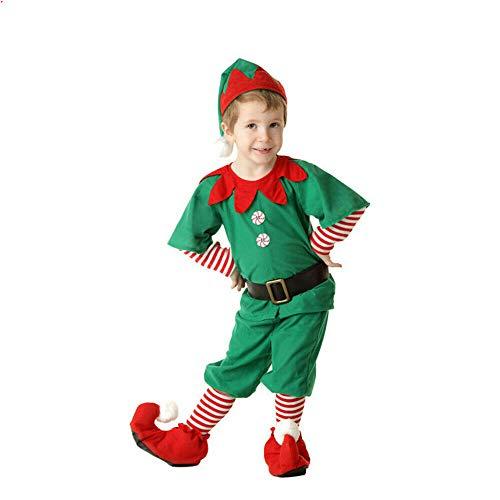 Heyaokun Disfraz de Elfo Adulto Unisex Disfraz Sombrero de Navidad, niño niña Disfraz de Elfo de Navidad, Sombrero de Elfo y Zapatos de Elfo (Hombres, 90cm)