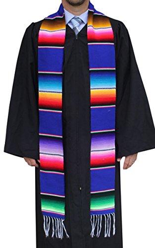 Del Mex Mexican Serape blanket Graduation Stole Sash Latino Hispanic (Blue)