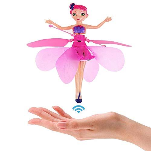 Fliegende Fee Puppe Fliegende Prinzessin Spielzeug Flugzeug Mädchen RC Helikopter Hubschrauber Flugzeuge Kinder Handsensor Spielzeug mit Infraroterkennung Schwimmendem Licht Ferngesteuertes