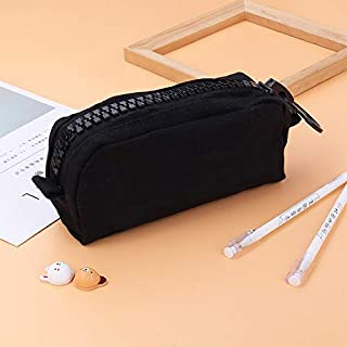 Yiherone Declamatory Capacity Zipper Multifunction Cunning School Pencil Cases Bags Pen Box Gift Office School Stationery Supplies(Black) New (Color : Black)