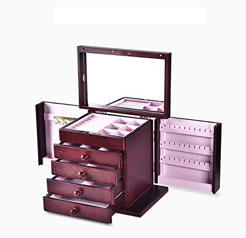 AJMINI Caja de joyería Decorada a Mano, Caja de joyería de Madera, Caja de Almacenamiento de Caja Femenina Tallada a Mano, Estilo Chino de Estilo Europeo Retro de Gran Capacidad Simple (Color : Red)