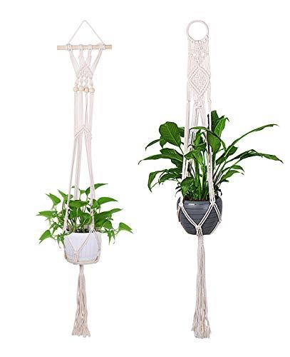 Luxbon 2er Set Makramee Blumenampel Baumwollseil Pflanzenaufhänger Blumentopf Halter für Decken Balkone Wand Boho Deko