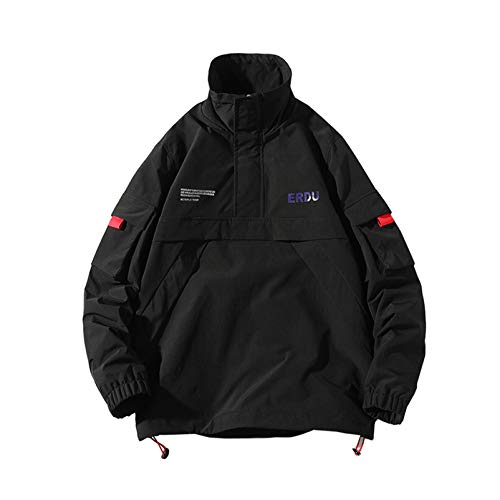 MONSFEVBG Streetwear Casual Hombres Chaqueta Abrigo Cortavientos Chaqueta Bomber para Hombre Primavera Otoño Pullover Abrigo Masculino Black XL