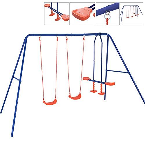 BAKAJI Altalena da Giardino per Bambini 4 Posti con Cavalluccio Dondolo Bimbi per Uso Esterno, Struttura Robusta in Acciaio